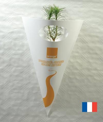 Plant d'arbre en cornet kraft ecologique publicitaire ECO104