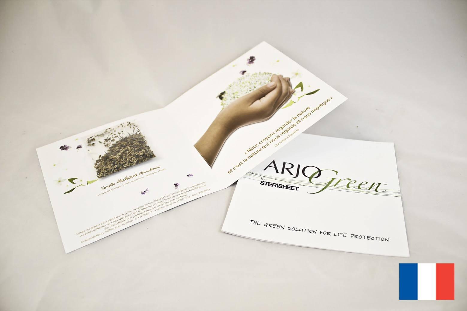Carte ecologique publicitaire 2 volets sachet de graines ECO094