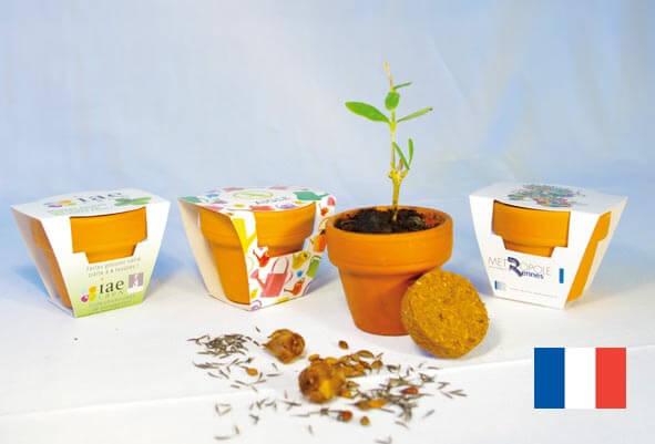 Kit de plantation pot terre cuite ecologique publicitaire ECO099