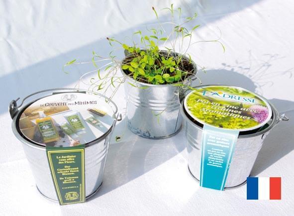 Kit de plantation pot zinc ecologique publicitaire ECO101