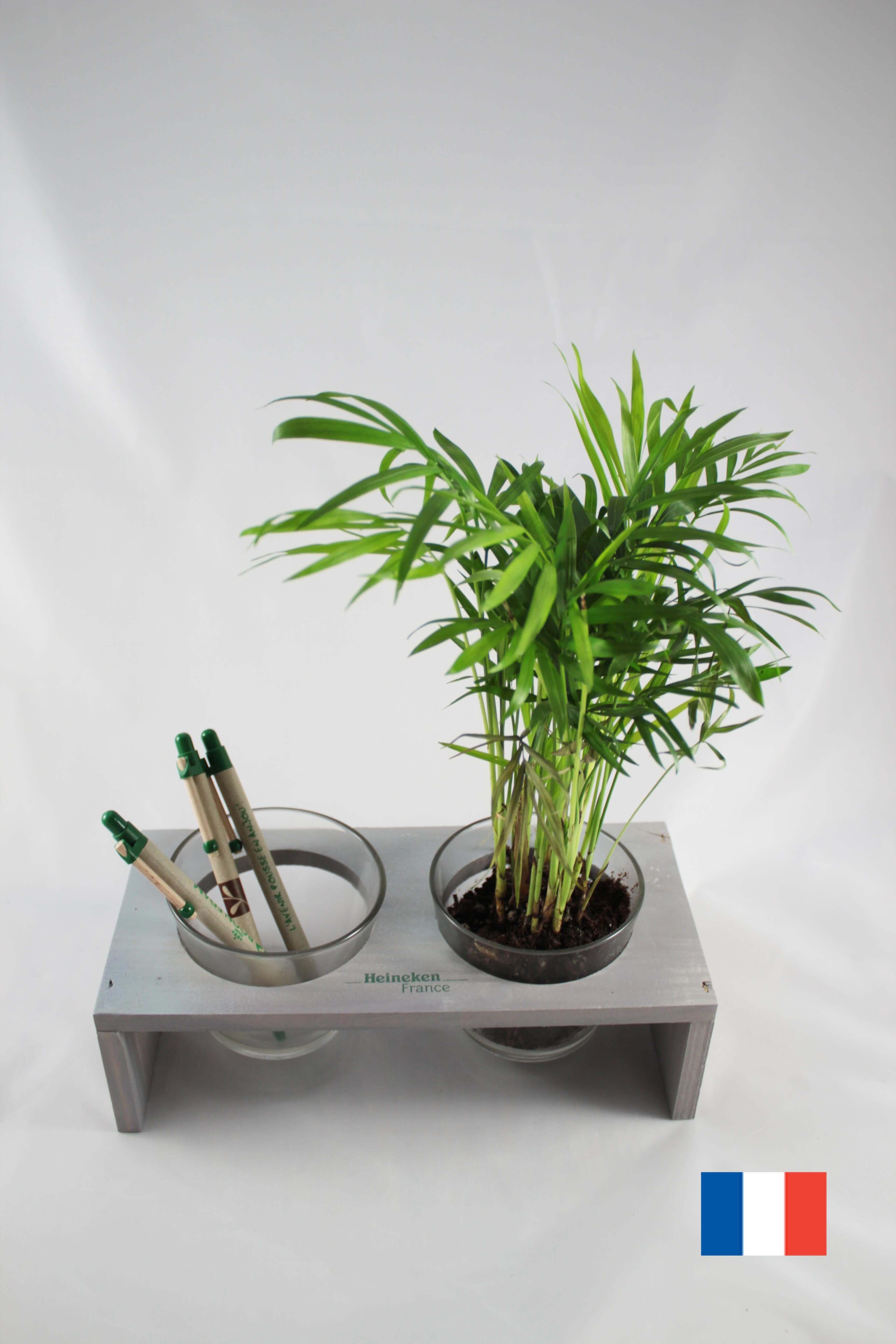 Double pot verre et bois ecologique publicitaire ECO120